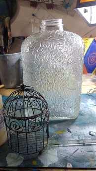 bird cage, bottle