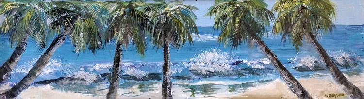 palm trees, ocean, beach