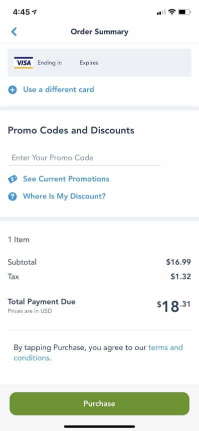 Disneyland Mobile Order Checkout