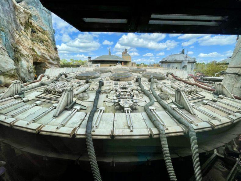 Millennium Falcon ship docked