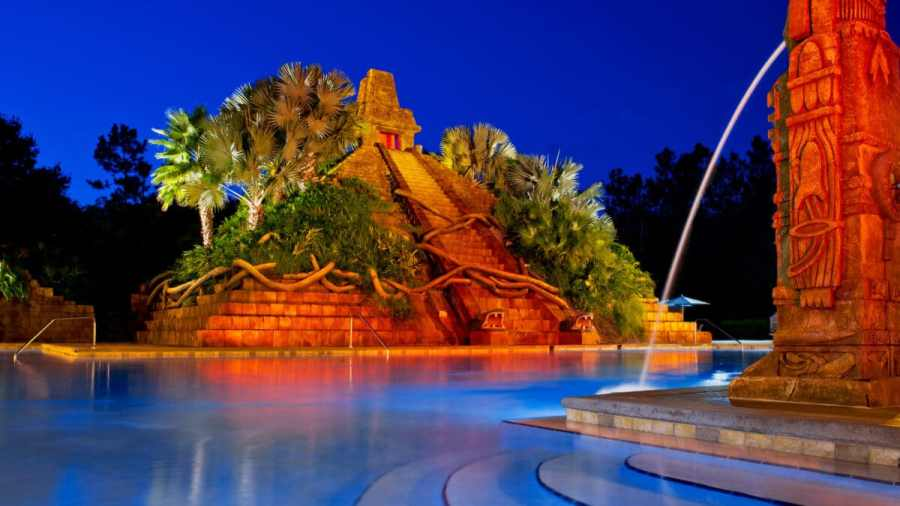 Large pyramid at pool with waterfall