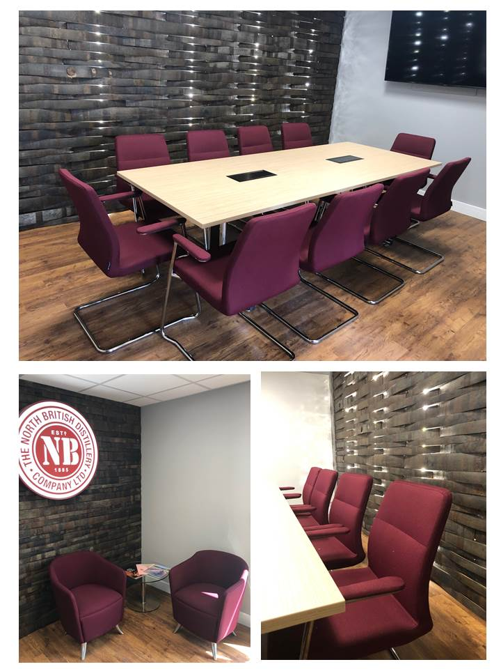 Office refurbishment, reception and meeting room with feature wall