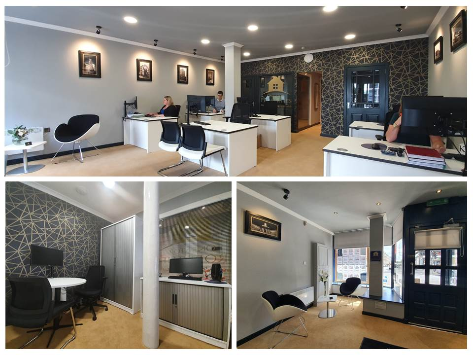 Glasgow Office refurbishment for Estate Agent includes open plan office, reception area and manger's office, in monochrome and gold, designed around the business brand colours.