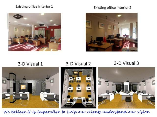 Original office images taken before the refurbishment and 3D design images of the proposed scheme