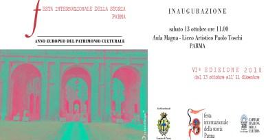 Parma Sabato 13 ottobre ore 11 inaugurazione Festa Internazionale della Storia