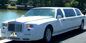 white limousine near lake