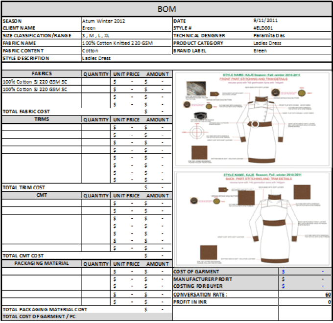 Garment Cost Sheet Preparation To Calculate Mrp Using Tech Pack