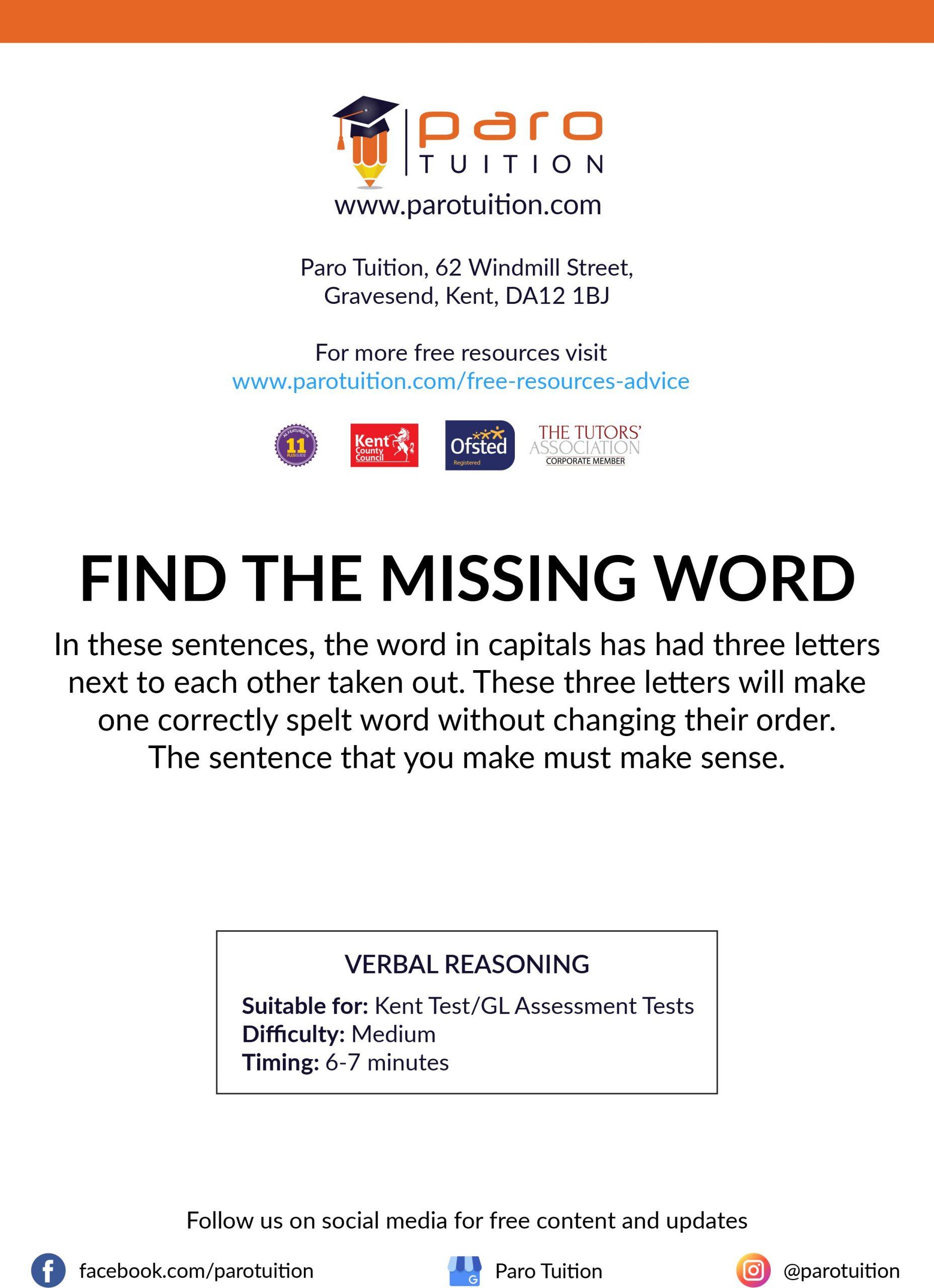 Free Kent 11 Verbal Reasoning Worksheets