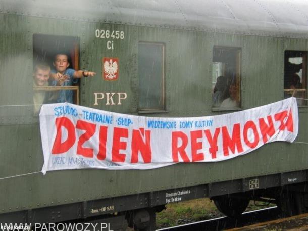 """Ol49-100 z pociągiem z okazji """"Dni Reymontowskich'2005""""."""