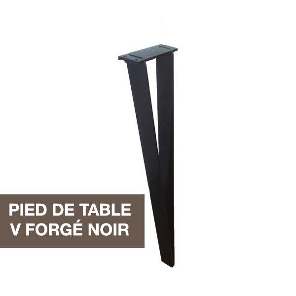 pied de table en acier v forge peint noir