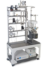 1-L Tubular Reactor System w/2 gas feeds, 1 purge line, 1 liquid feed, & custom pressure controls to enhance the heated gas/liquid separator.