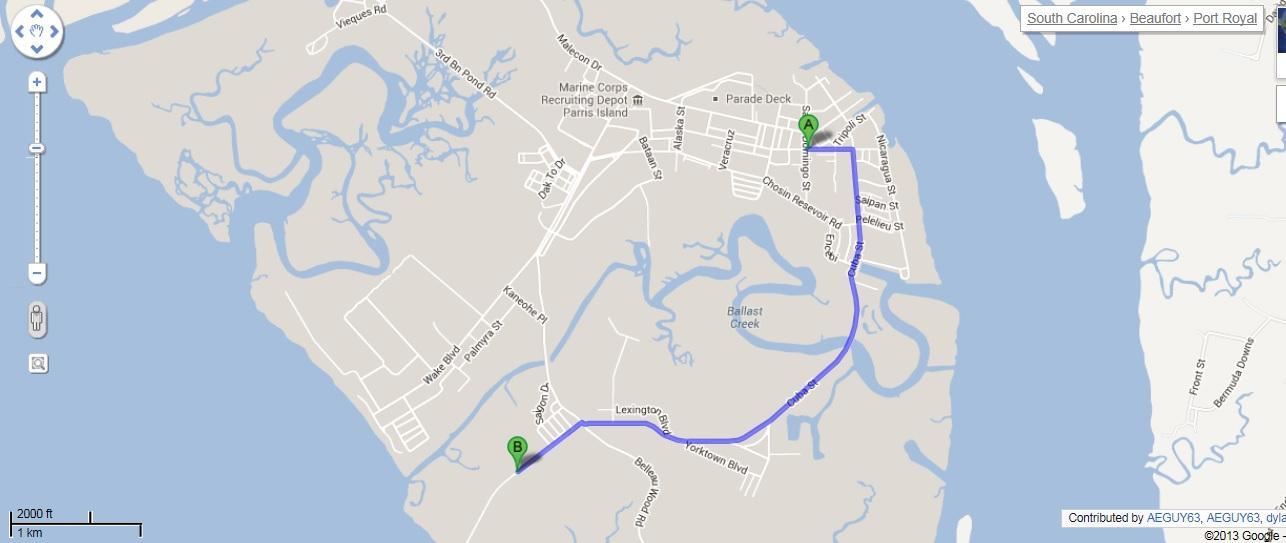 Map Elliotts Beach ParrisIslandcom - Parris map