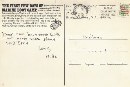 mikes postcard to his parents