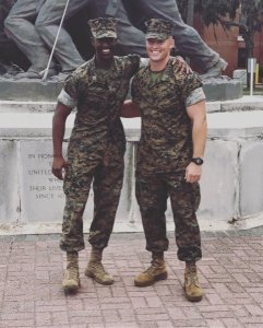 Capt. Ziaire O'Brien, left, and 1st Lt. Luke Johnson started out as classmates at high school in Beaufort, South Carolina. Their relationship has forged into a brotherhood in the Marine Corps and has returned them to the place they grew up. (Photo courtesy of Capt. Ziaire O'Brien)