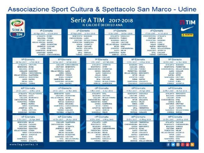 2017-2018 CALENDARIO SERIE A