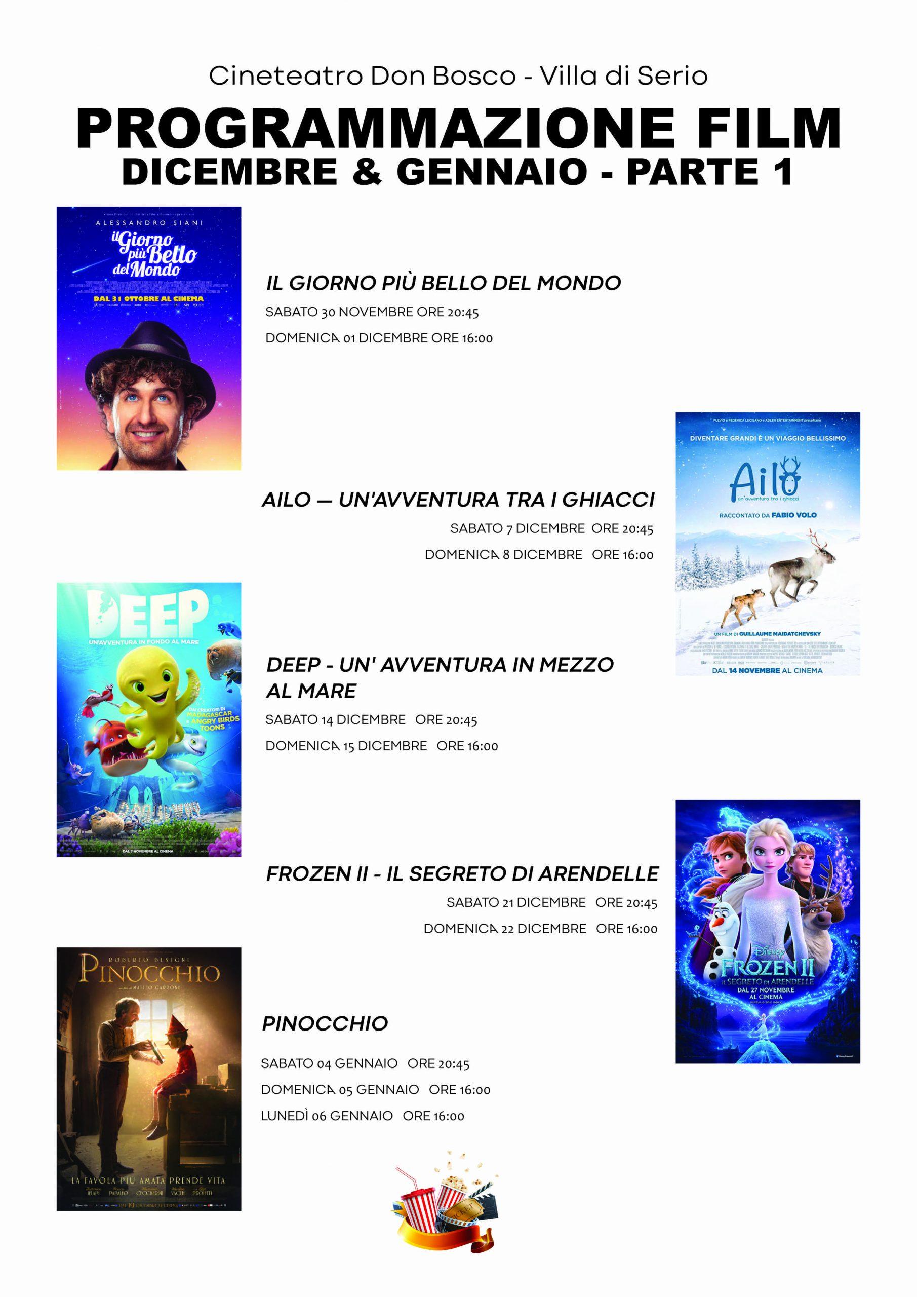 Programmazione Film dicembre 2019 & gennaio 2020
