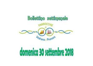 Bollettino Vedrana – Prunaro 30 settembre 2018