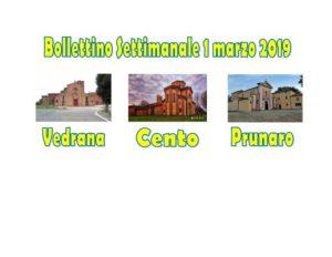 Bollettino Vedrana Cento Prunaro 3 marzo 2019