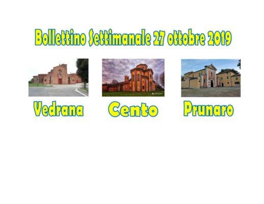 Bollettino Vedrana Cento Prunaro 27 ottobre 2019