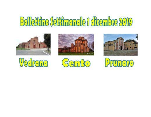 Bollettino Vedrana Cento Prunaro 1 dicembre 2019