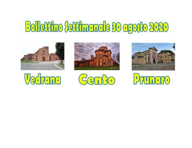 Bollettino Vedrana Cento Prunaro 30 agosto 2020