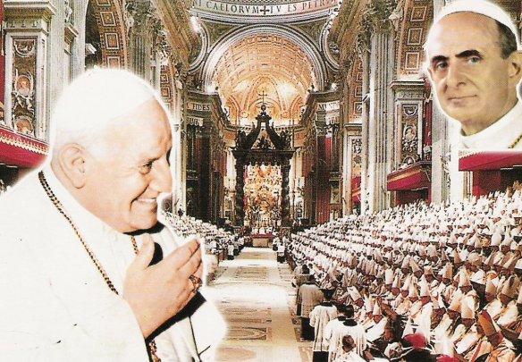 Concilio Vaticano II (1962-1965). En él estuvieron reunidos todos los Obispos del mundo con el Papa que lo convocó (San Juan XXIII) y, tras su fallecimiento, con el Papa que lo continuó y concluyó (Beato Pablo VI).