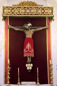 """Sagrada Imagen del """"Santísimo Cristo de Burgos"""". Capilla del Baptisterio de la iglesia parroquial de San Nicolás de Murcia. (En la """"Galería de fotos"""" de esta página web se pueden ver más fotos de esta imagen sagrada y de su capilla)."""