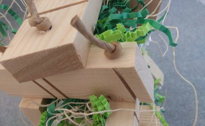 wood parrot toys log cabin