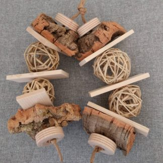 parrot toys with cork in them