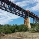 Parry Sound Trestle with Train and blue clouds