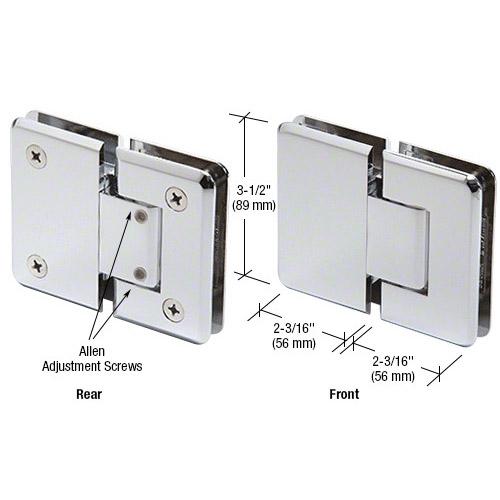 Pinnacle glass-glass hinge adjustable