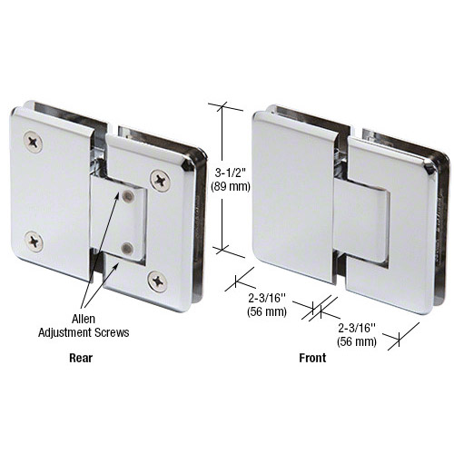 Pinnacle glass-glass hinge adjustable
