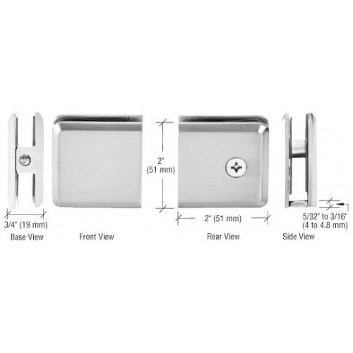 Polished Chrome Square 180 Degree Glass-to-Glass Clamp