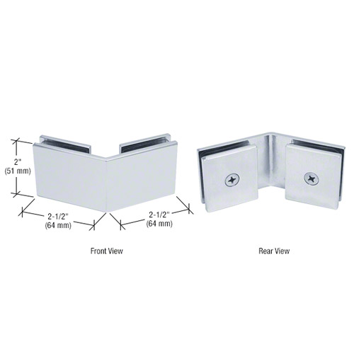 Polished Chrome Square 135 Degree Glass-to-Glass Clamp