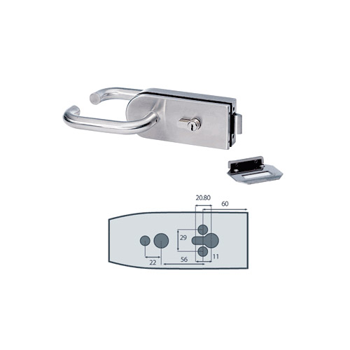 Brushed Stainless Steel Middle Lock Glass-to-Wall