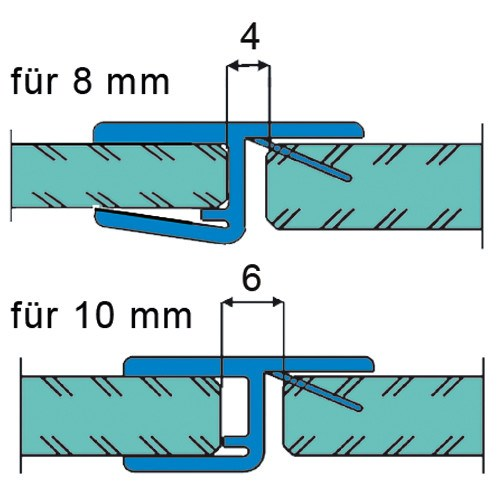 Sealing Strip 180°, for doors opening in one direction for 8 - 10 mm