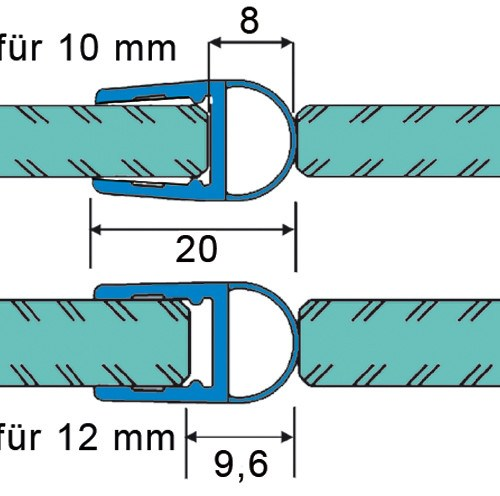 Sealing Strip with bellows for 10 - 12 mm