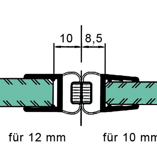 Sealing Strip with 180° Magnetic Profile for 10 - 12 mm