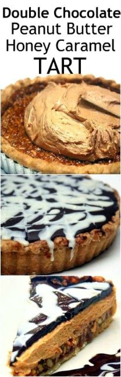 Double Chocolate Peanut Butter Honey Caramel Tart. OMG, SO AMAZING! #peanutbuttercarameltart #pie #tart #whitechocolate #darkchocolate #honeycaramel #peanutbuttertart #caramelpie #saltedpeanuts #snurtletart