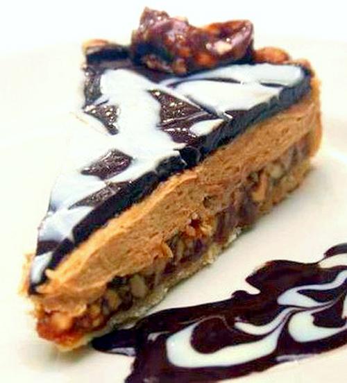 White and Dark Chocolate Salted Peanut Caramel Peanut Butter Tart