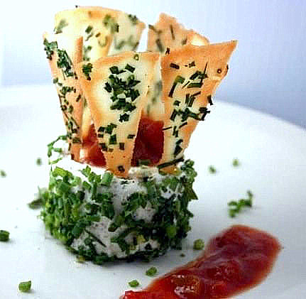 Camembert - Mascarpone Garlic Cheese Rillettes with Tomato-Horseradish Relish and Garlic-Chive Tuile Crackers