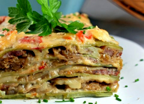 Caramelized Onion and Sausage Lasagne with Roasted Red Pepper Bechamel and Pasta Verde (Spinach Pasta)
