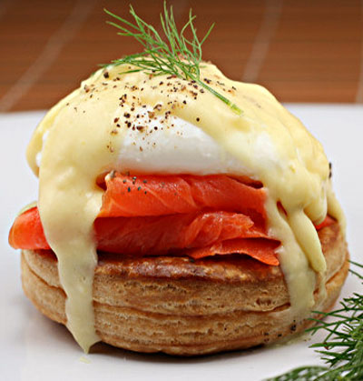Smoked Salmon Eggs Benedict with Saffron Dill Hollandaise in Puff Pastry Vols-Au-Vent.