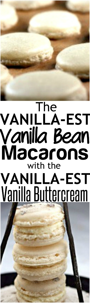 The VANILLA-EST White Vanilla Bean Macarons ever! Double and triple the vanilla with a the VANILLA-EST Vanilla Bean Bttercream filling! PLUS, lots of other awesome flavored macarons, like Lemon-Thyme! #Macaron #vanilla #vanillabean #macarons #vanillamacarons #cookies #meringues