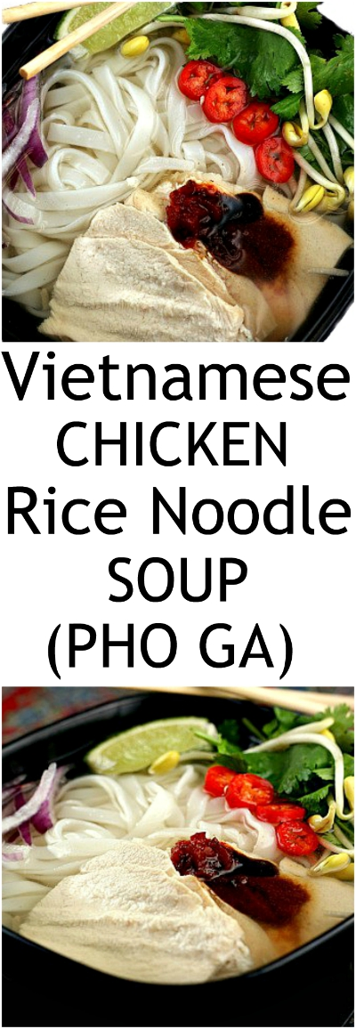 30 minute Vietnamese Chicken Rice Noodle Soup.