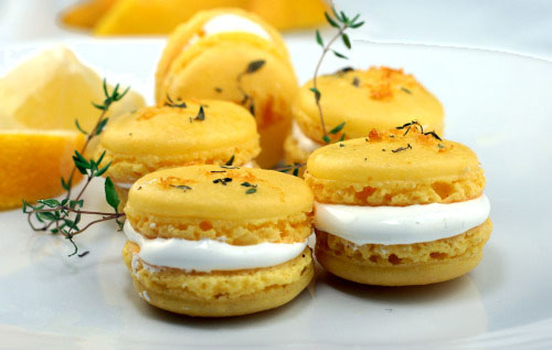 Lemon Thyme Macarons with Swiss meringue (marshmallow) filling. Have you tackled the macaron yet? If not, these lemon thyme macarons may change your mind!