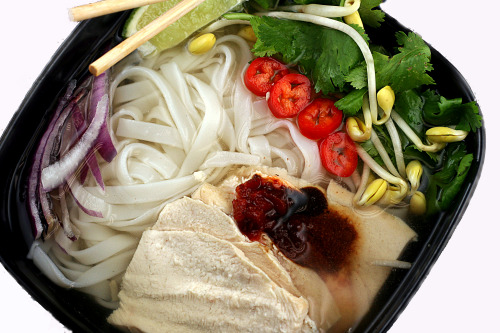 Pho Ga. Ever hear of it? It's SaigonChicken Rice Noodle Soup from Viet Nam. This is probably NOT your typical Bubbes' (OR Grandma's/Mom's) soul-healing Chickeny Noodle Soup, but it's just as soothing and just as delicious, albeit a lot more spiced and exotic.