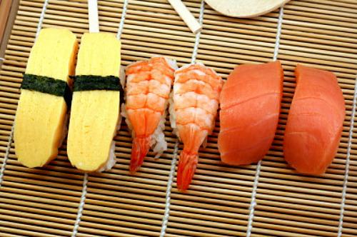 Nigiri Sushi. Egg, Shrimp and Salmon.