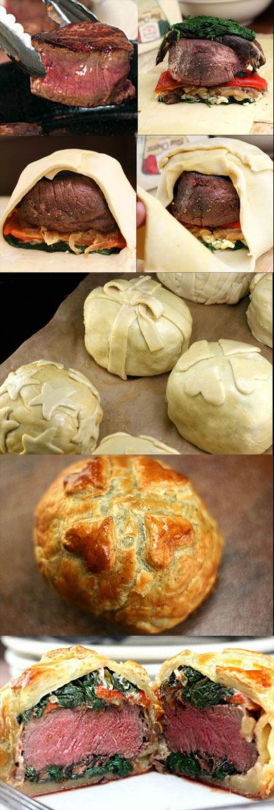Beef Wellingtons loaded with Mushrooms, Caramelized Onions, Roasted Red Pepper, Spinach & Cheese Filling! #beefwellington #individualbeefwellingtons #beef #caramelizedonions #roastedredpepper #cheese #mushrooms