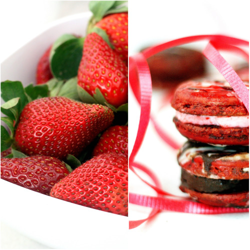Chocolate Dipped Strawberry Macarons
